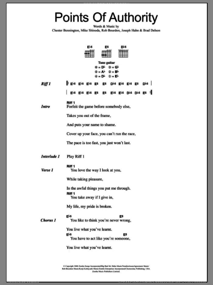 Park Points Of Authority Sheet Music For Guitar Chords Pdf