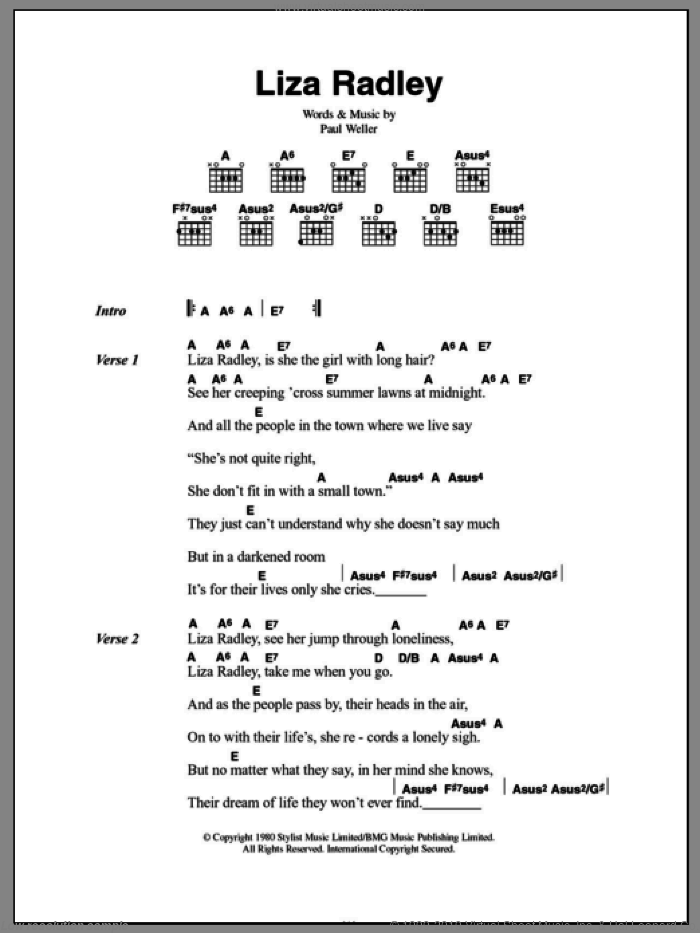 Liza Radley sheet music for guitar (chords) by Paul Weller and The Jam. Score Image Preview.