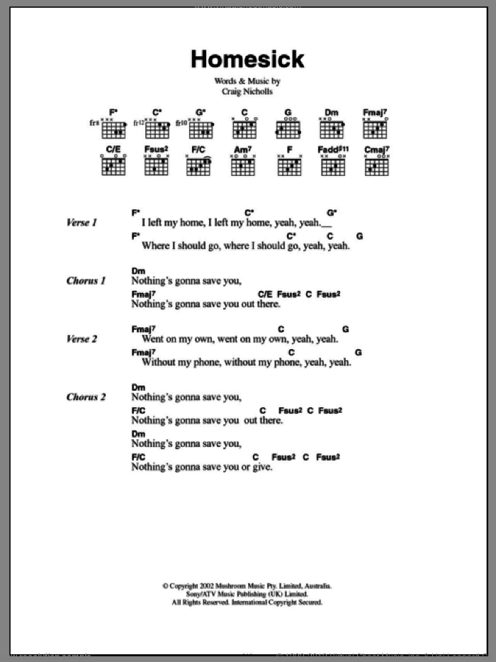 Homesick sheet music for guitar (chords) by The Vines. Score Image Preview.