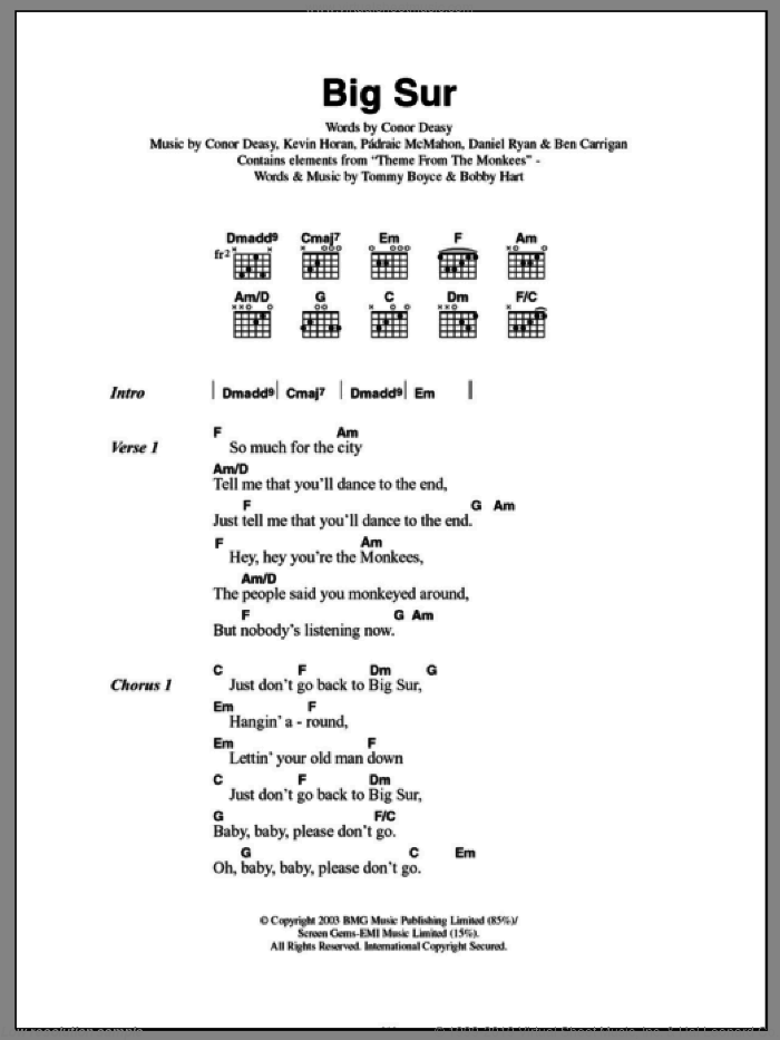 Big Sur sheet music for guitar (chords) by Padraic McMahon