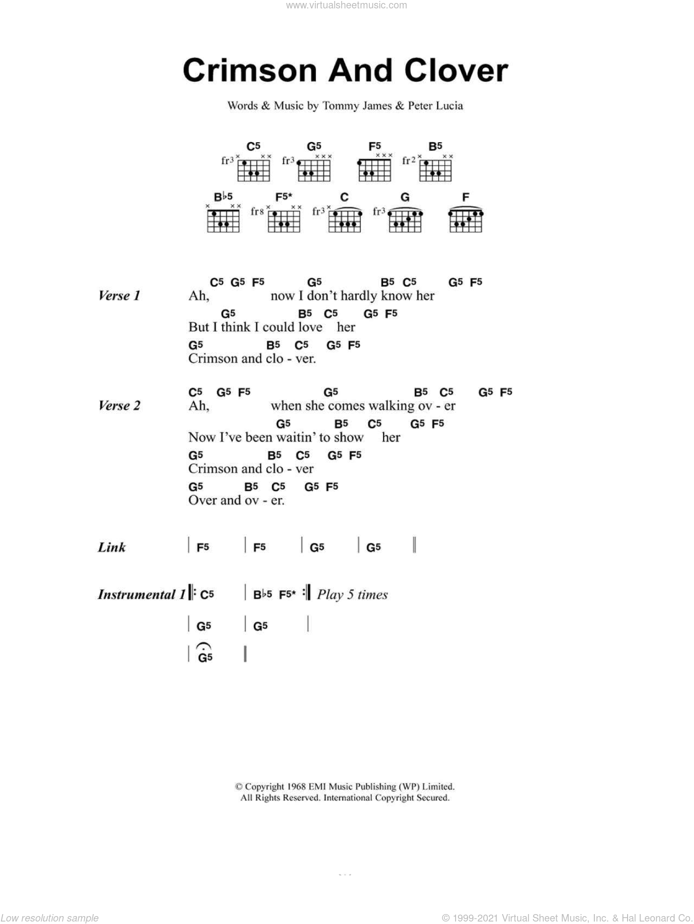 Crimson And Clover sheet music for guitar (chords) by Tommy James, Joan Jett and Peter Lucia. Score Image Preview.