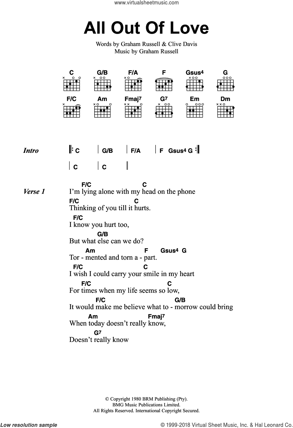 All Out Of Love sheet music for guitar (chords) by Air Supply, Clive Davis and Graham Russell, intermediate