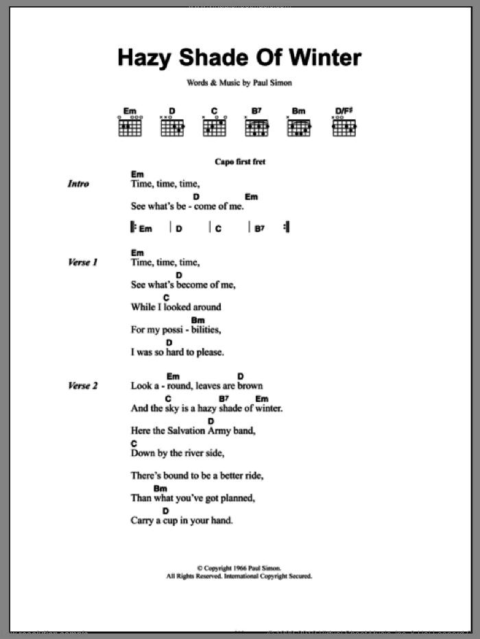 A Hazy Shade Of Winter sheet music for guitar (chords) by Simon & Garfunkel and Paul Simon, intermediate. Score Image Preview.