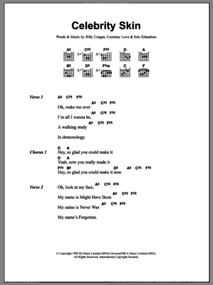 Celebrity Skin sheet music for guitar (chords) by Eric Erlandson and Billy Corgan. Score Image Preview.