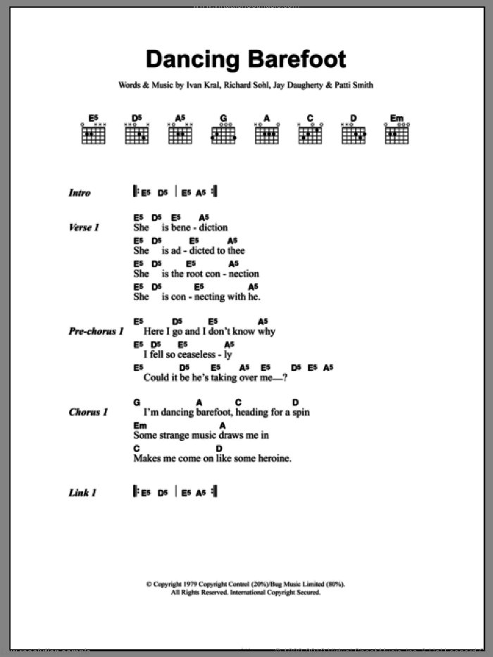 Dancing Barefoot sheet music for guitar (chords) by Richard Sohl and Ivan Kral. Score Image Preview.