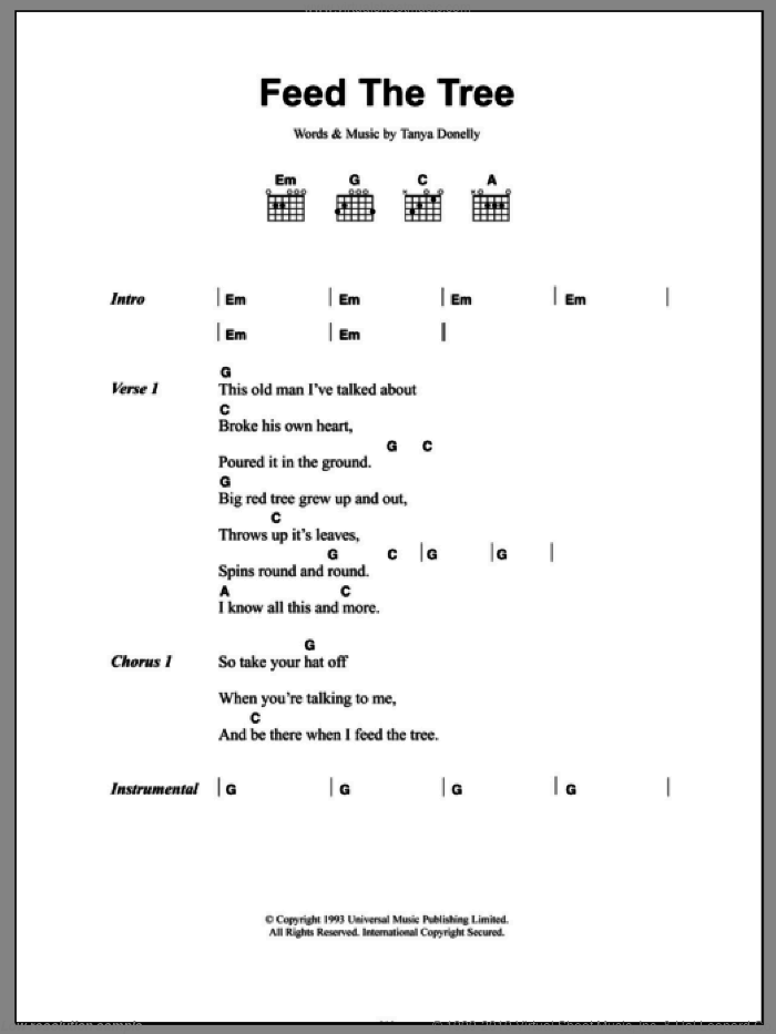 Feed The Tree sheet music for guitar (chords) by Belly and Tanya Donelly, intermediate skill level