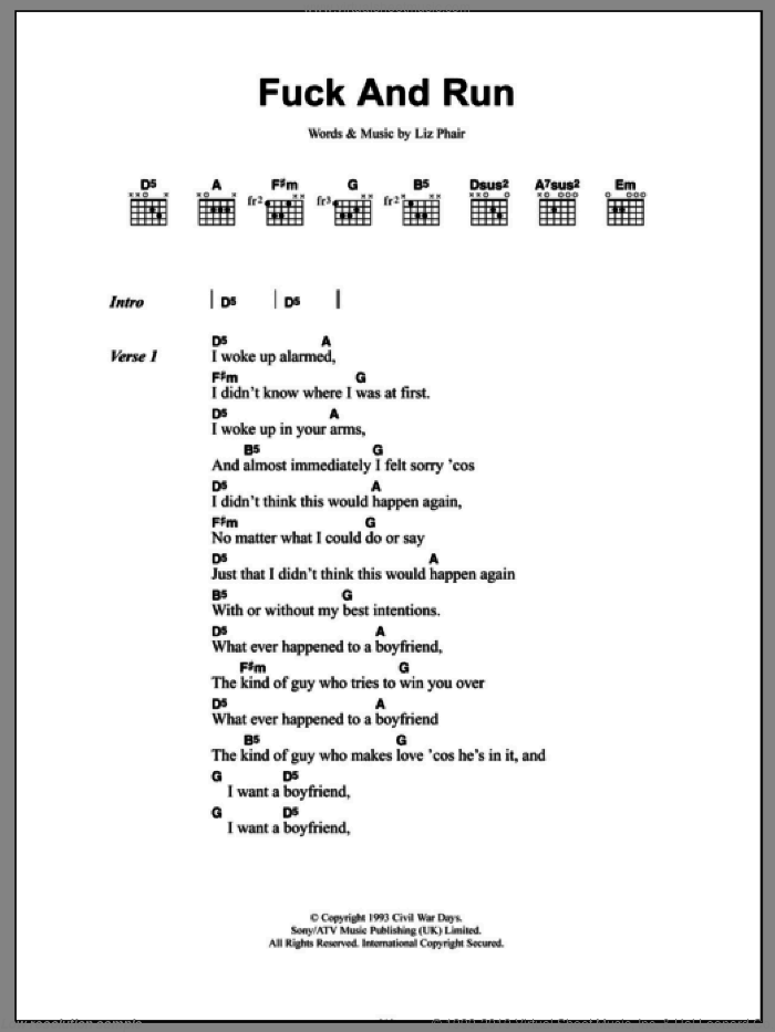 F*** And Run sheet music for guitar (chords) by Liz Phair. Score Image Preview.