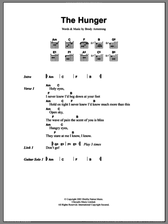 The Hunger sheet music for guitar (chords, lyrics, melody) by Brody Armstrong