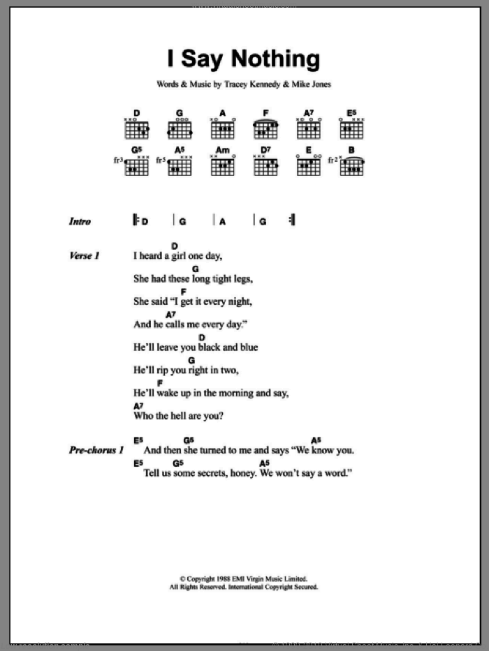 I Say Nothing sheet music for guitar (chords) by Tracey Kennedy and Mike Jones. Score Image Preview.
