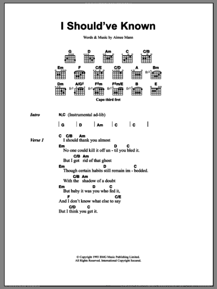 I Should've Known sheet music for guitar (chords) by Aimee Mann. Score Image Preview.