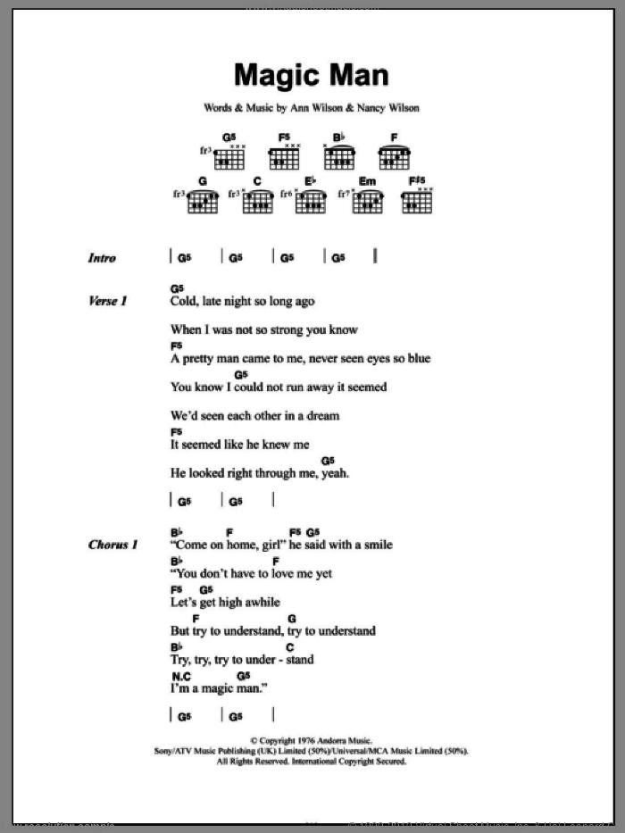 Magic Man sheet music for guitar (chords) by Heart, Ann Wilson and Nancy Wilson, intermediate skill level
