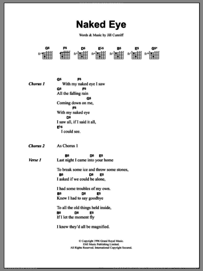 Naked Eye sheet music for guitar (chords) by Luscious Jackson and Jill Cunniff, intermediate skill level