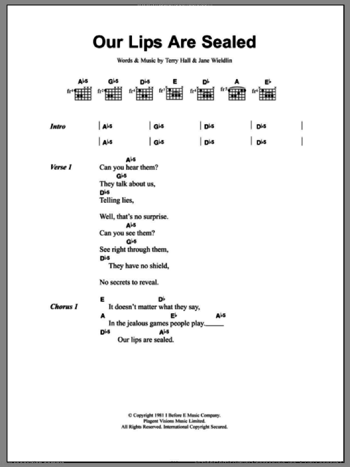 Our Lips Are Sealed sheet music for guitar (chords) by The Go-Go's, Jane Wiedlin and Terry Hall, intermediate skill level