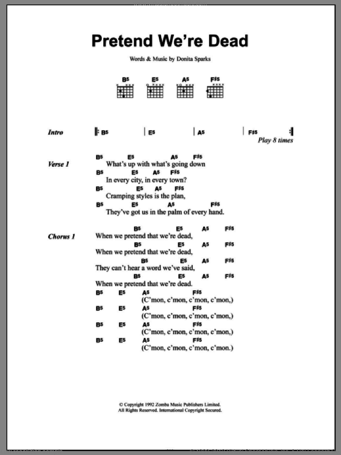 Pretend We're Dead sheet music for guitar (chords) by Donita Sparks. Score Image Preview.