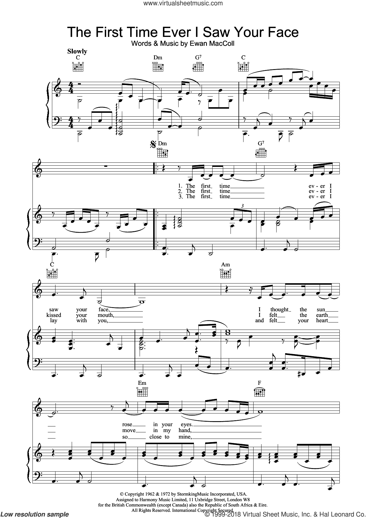 The First Time Ever I Saw Your Face sheet music for voice, piano or guitar by Johnny Mathis, Journey South and Ewan MacColl, intermediate skill level