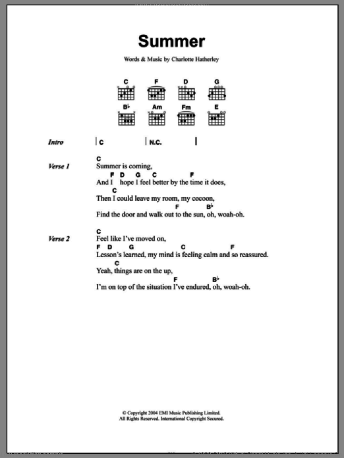 Summer sheet music for guitar (chords) by Charlotte Hatherley, intermediate. Score Image Preview.