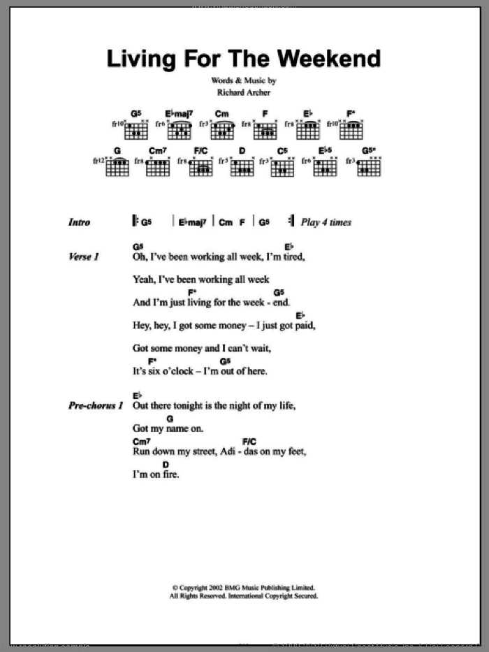 Living For The Weekend sheet music for guitar (chords, lyrics, melody) by Richard Archer