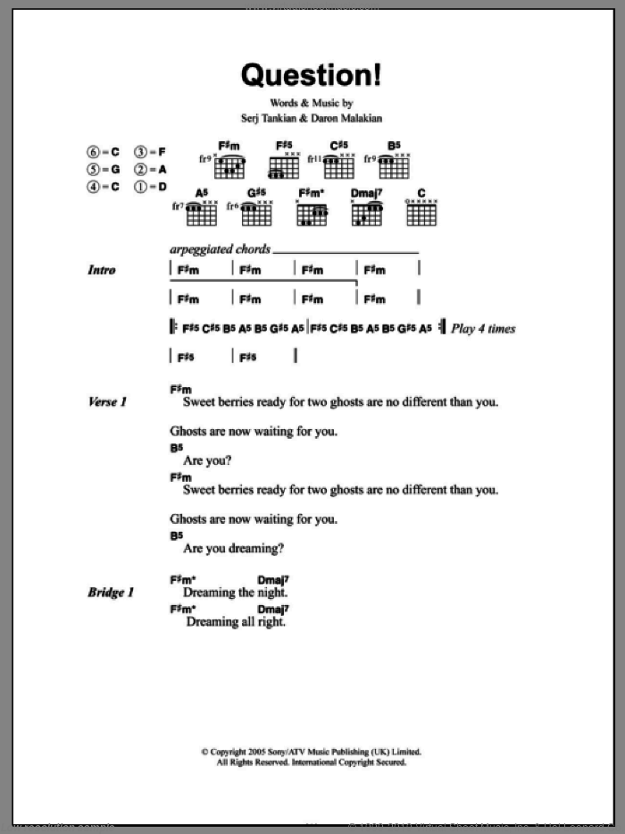 Question! sheet music for guitar (chords) by Serj Tankian