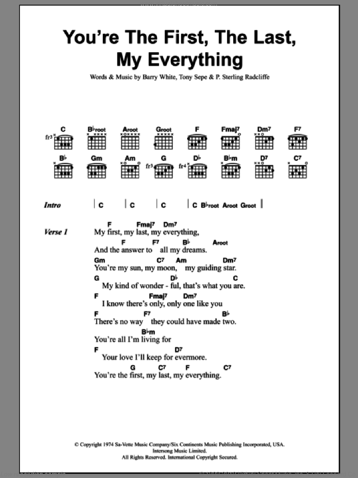 You're The First, The Last, My Everything sheet music for guitar (chords) by Tony Sepe and Barry White. Score Image Preview.