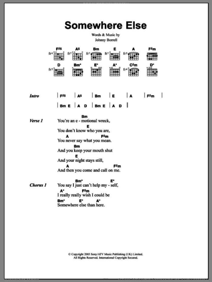 Somewhere Else sheet music for guitar (chords) by Razorlight. Score Image Preview.