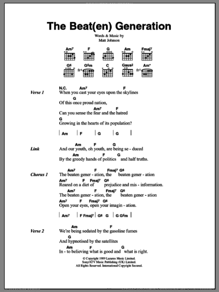 The Beat(en) Generation sheet music for guitar (chords) by The The and Matt Johnson, intermediate skill level