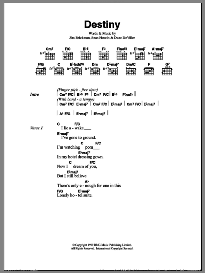 Destiny sheet music for guitar (chords) by Sean Hosein and Jim Brickman. Score Image Preview.