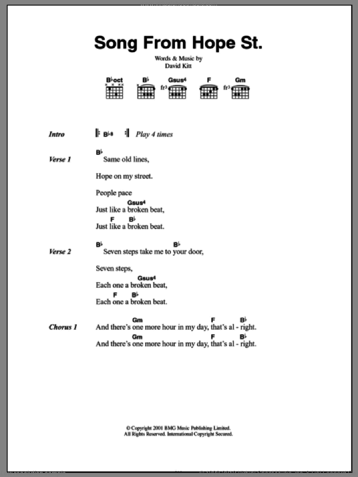 Song From Hope St. sheet music for guitar (chords) by David Kitt, intermediate. Score Image Preview.