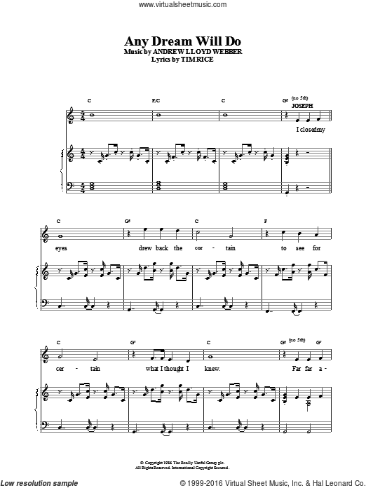 Any Dream Will Do sheet music for voice, piano or guitar by Andrew Lloyd Webber. Score Image Preview.