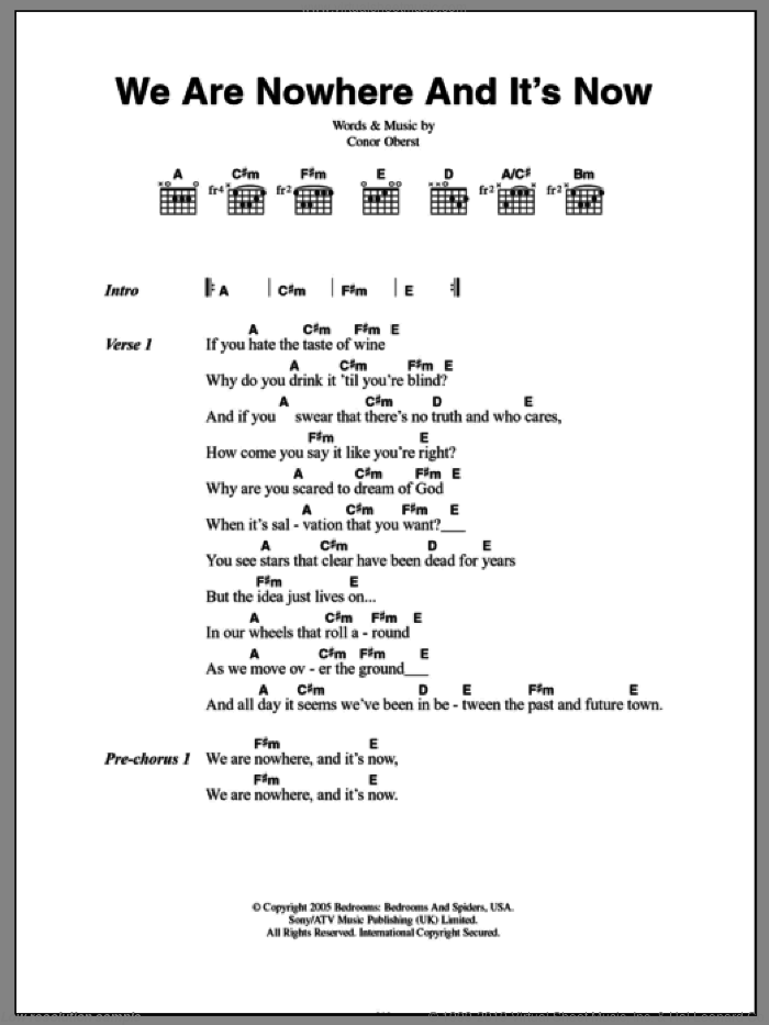 We Are Nowhere And It's Now sheet music for guitar (chords) by Bright Eyes and Conor Oberst, intermediate skill level