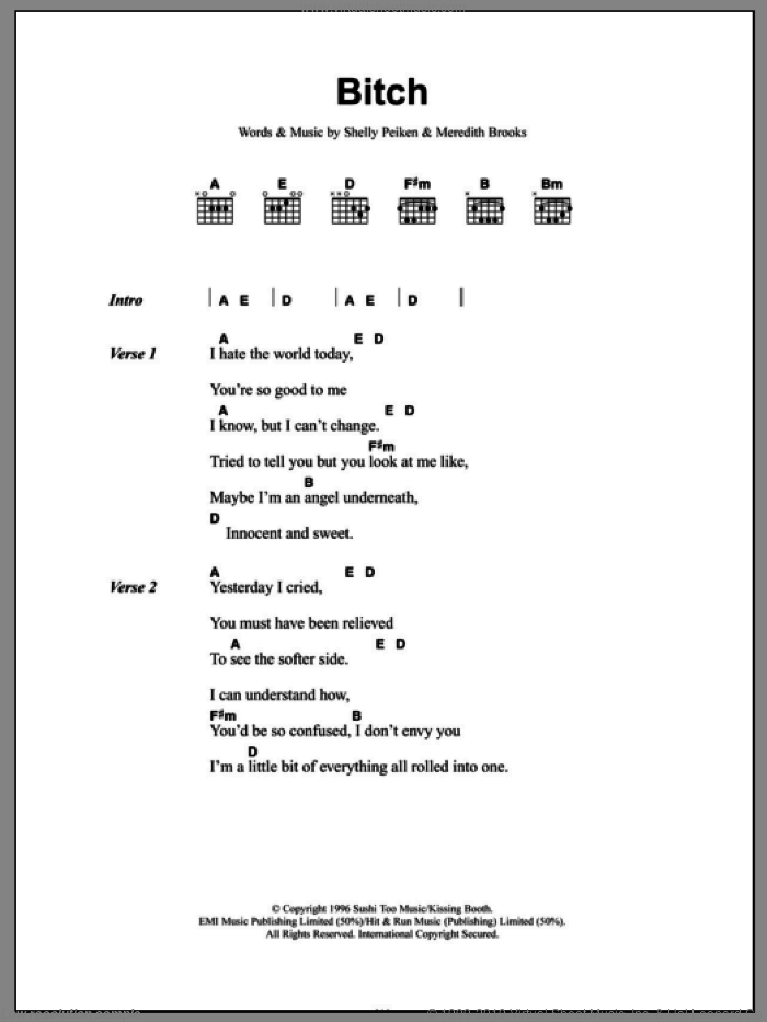 Bitch sheet music for guitar (chords) by Meredith Brooks and Shelly Peiken, intermediate guitar (chords). Score Image Preview.