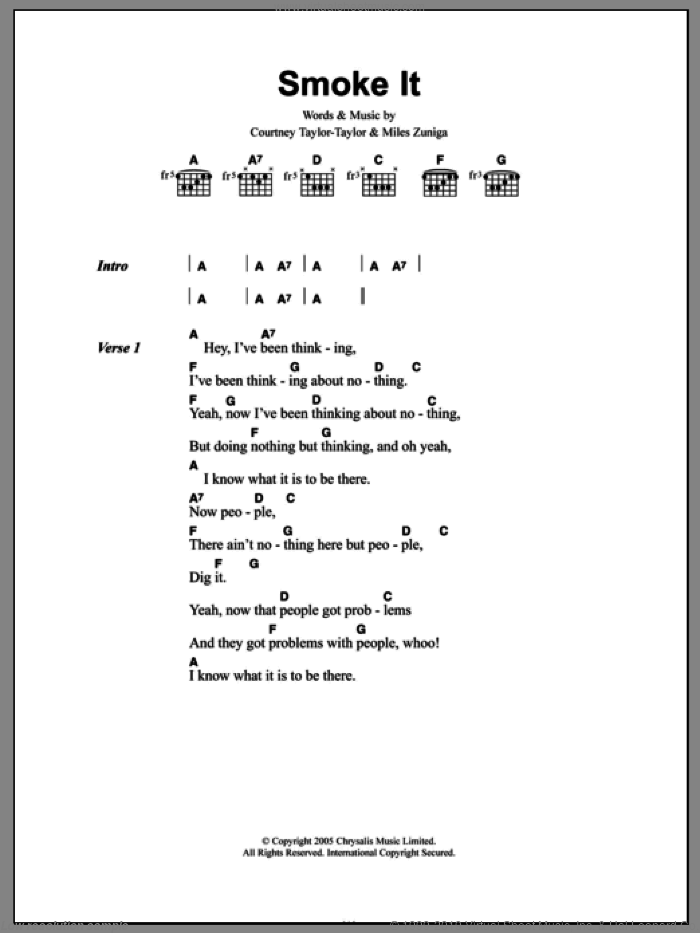 Smoke It sheet music for guitar (chords) by Miles Zuniga and Courtney Taylor-Taylor. Score Image Preview.