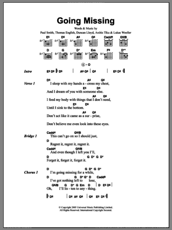 Going Missing sheet music for guitar (chords) by Maximo Park and Paul Smith, intermediate