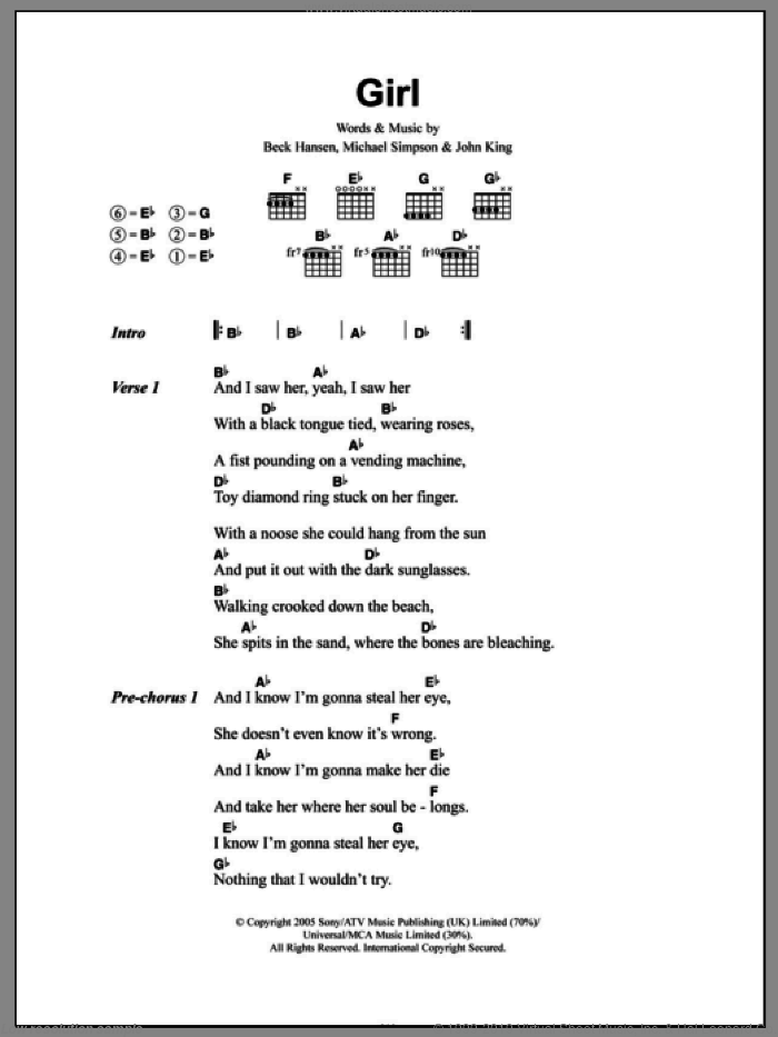 Girl sheet music for guitar (chords) by Mike Simpson, Beck Hansen and John King. Score Image Preview.