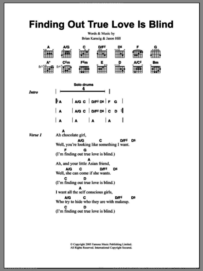 Finding Out True Love Is Blind sheet music for guitar (chords) by Jason Hill