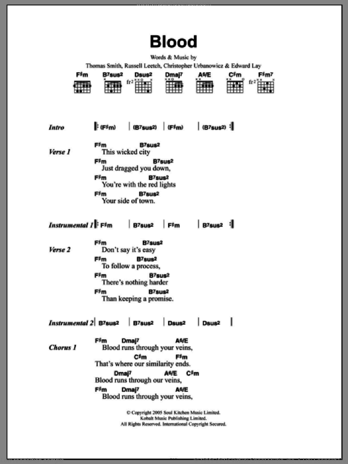 Blood sheet music for guitar (chords, lyrics, melody) by Tom Smith