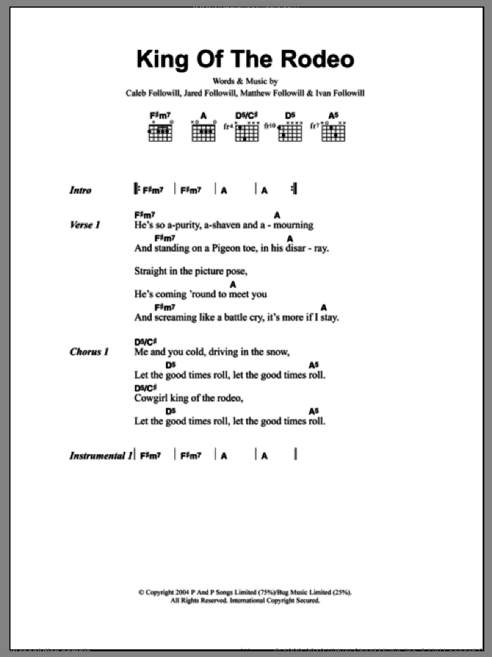 King Of The Rodeo sheet music for guitar (chords) by Matthew Followill, Kings Of Leon, Caleb Followill and Ivan Followill. Score Image Preview.