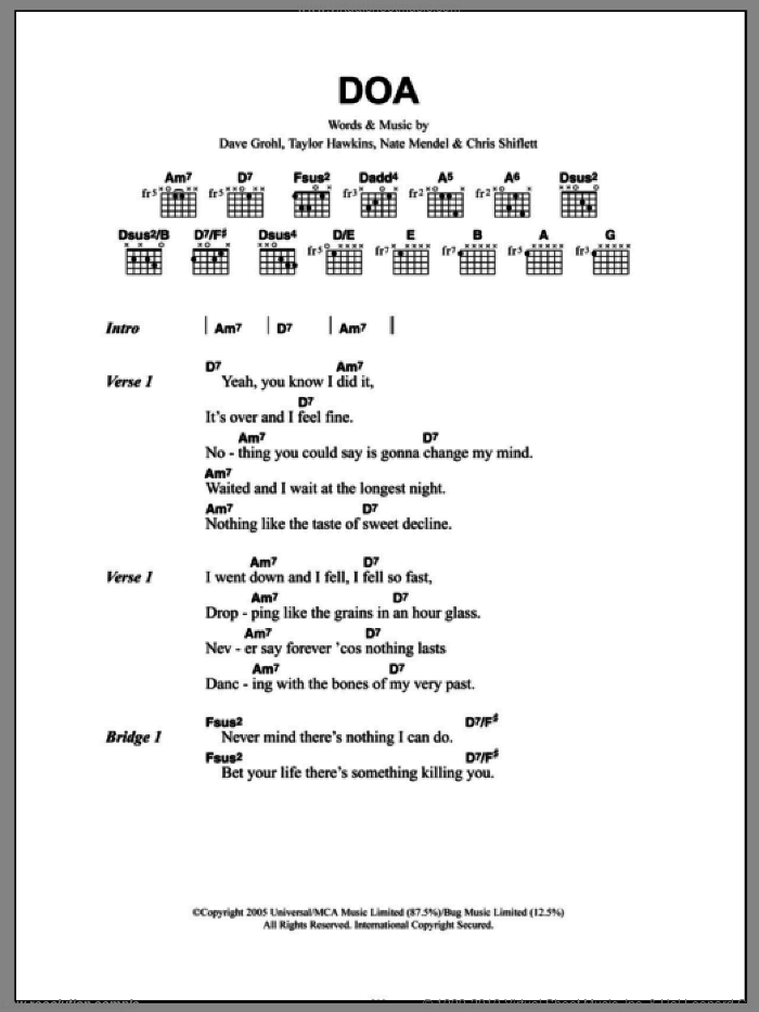 DOA sheet music for guitar (chords) by Taylor Hawkins