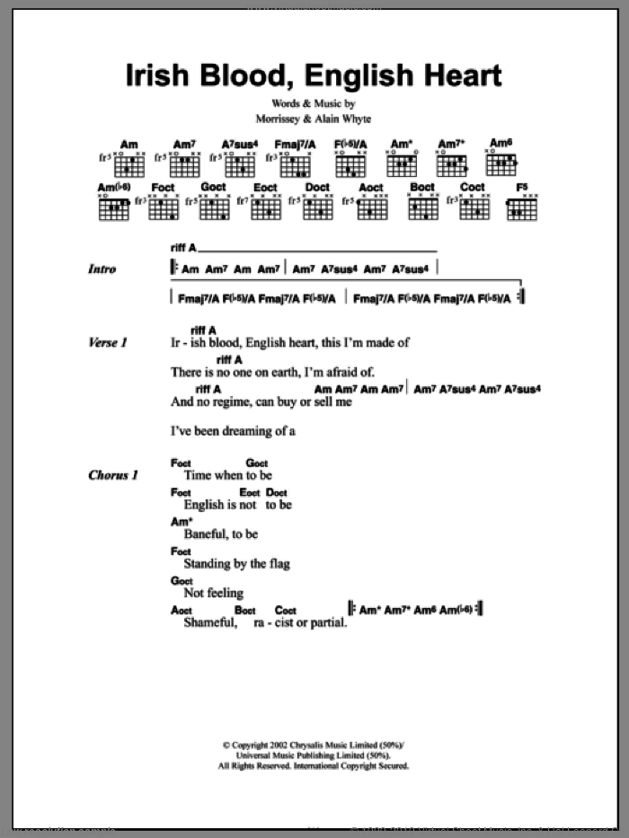 Irish Blood, English Heart sheet music for guitar (chords) by Alain Whyte