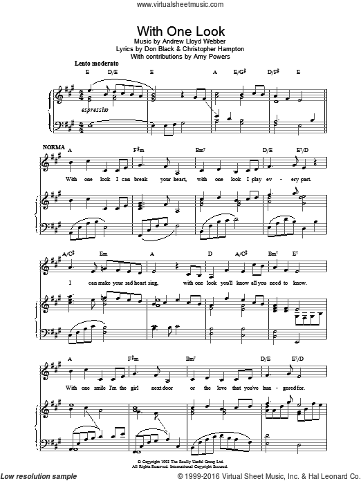 With One Look sheet music for voice, piano or guitar by Andrew Lloyd Webber. Score Image Preview.