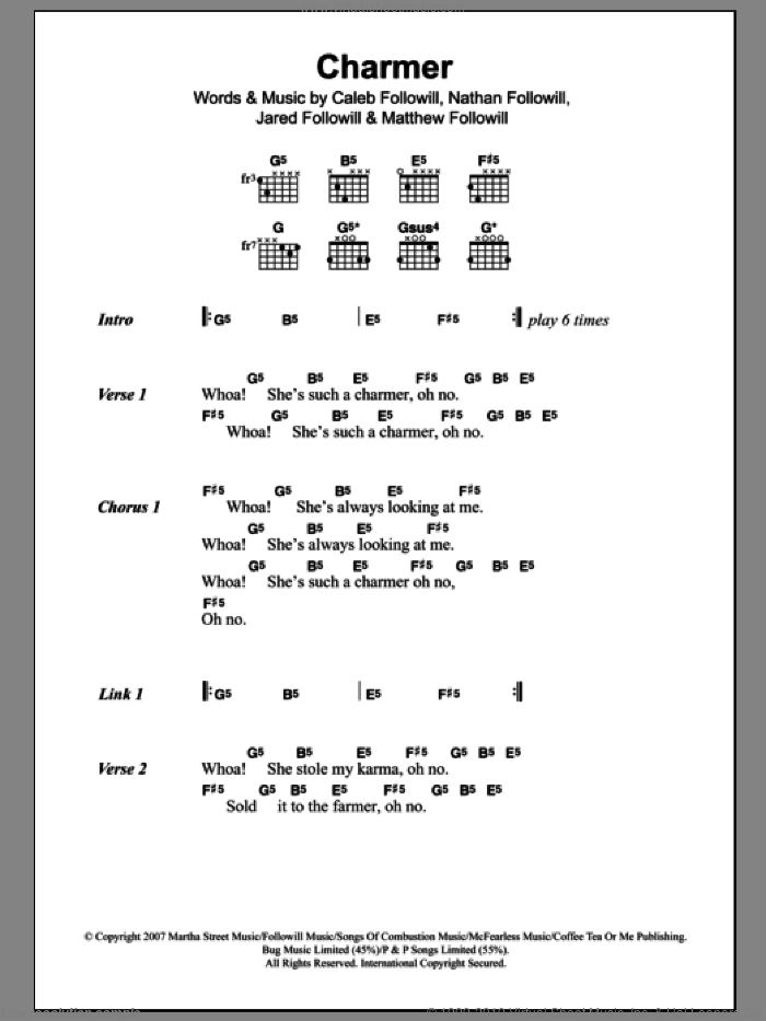 Charmer sheet music for guitar (chords) by Nathan Followill, Kings Of Leon, Caleb Followill and Matthew Followill. Score Image Preview.