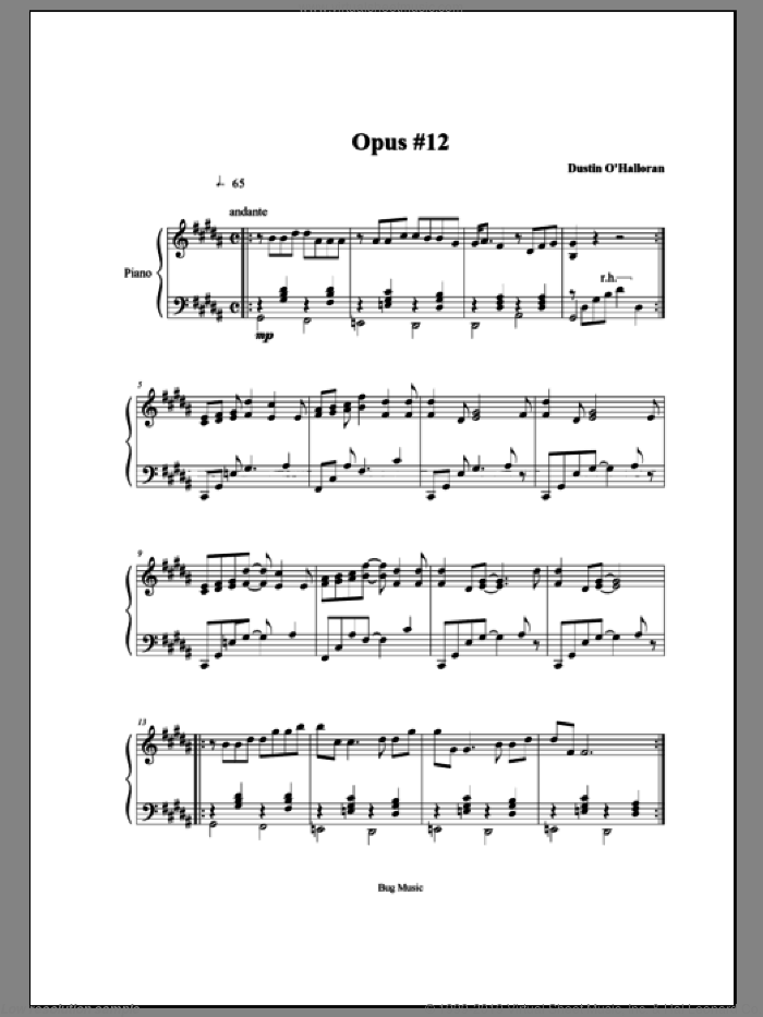 Opus 12 sheet music for piano solo by Dustin O'Halloran. Score Image Preview.