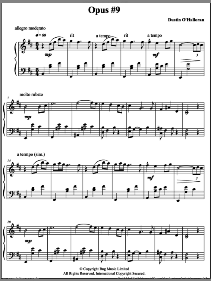 Opus 9 sheet music for piano solo by Dustin O'Halloran