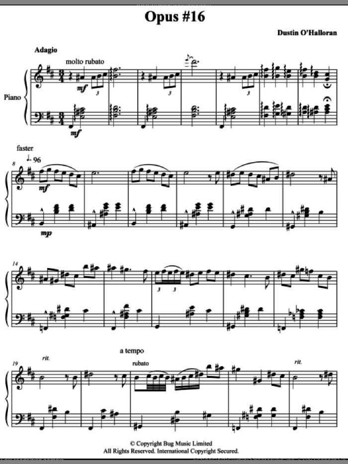 Opus 16 sheet music for piano solo by Dustin O'Halloran, classical score, intermediate