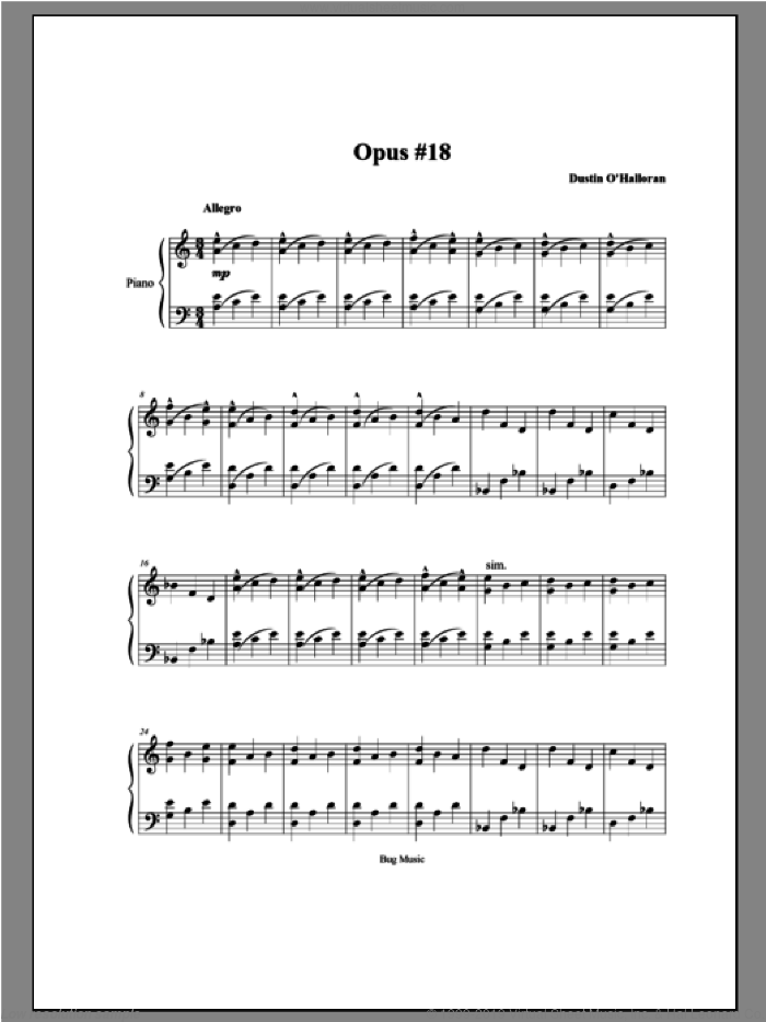Opus 18 sheet music for piano solo by Dustin O'Halloran, classical score, intermediate. Score Image Preview.