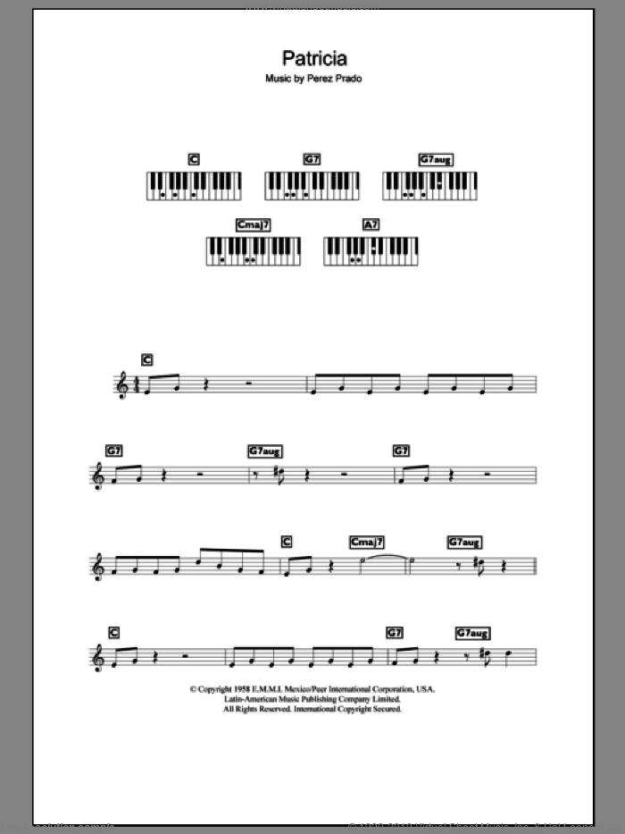 Patricia sheet music for piano solo (chords, lyrics, melody) by Perez Prado. Score Image Preview.