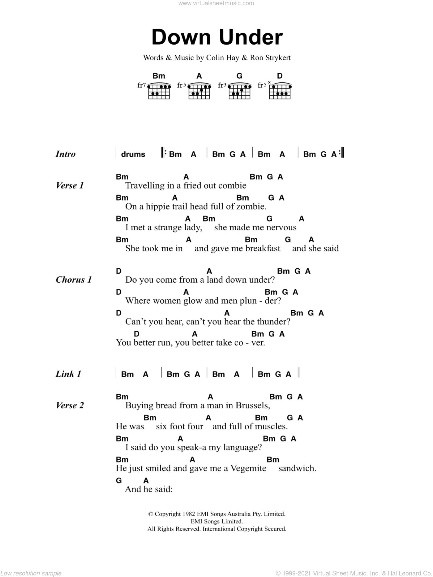 Down Under sheet music for guitar (chords) by Men At Work, Colin Hay and Ron Strykert, intermediate. Score Image Preview.
