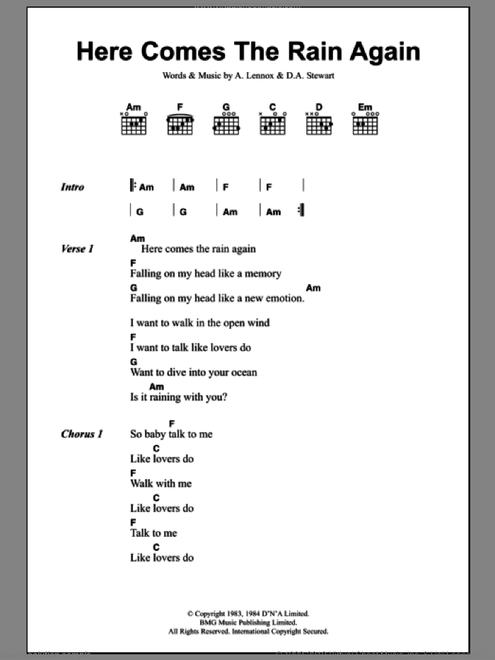 Here Comes The Rain Again sheet music for guitar (chords) by Dave Stewart, Alex Parks, Eurythmics and Annie Lennox. Score Image Preview.