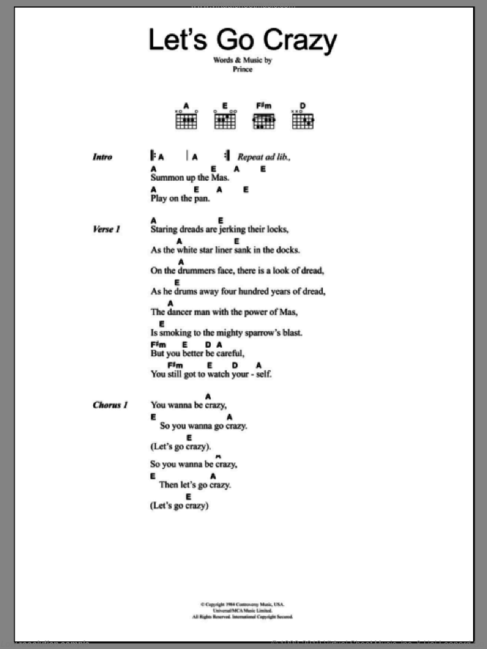 Clash - Let\'s Go Crazy sheet music for guitar (chords) [PDF]