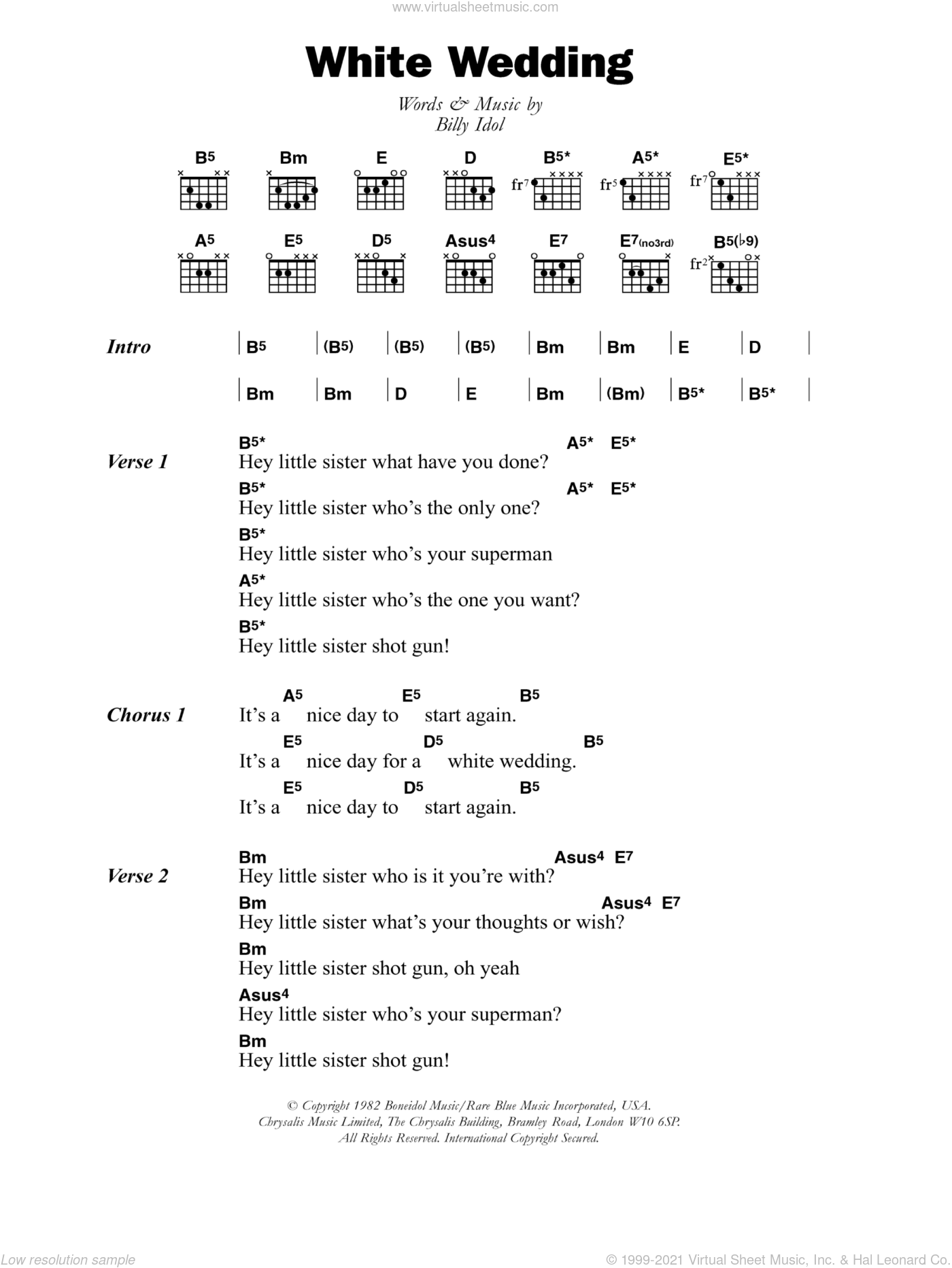 White Wedding sheet music for guitar (chords) by Billy Idol, intermediate. Score Image Preview.