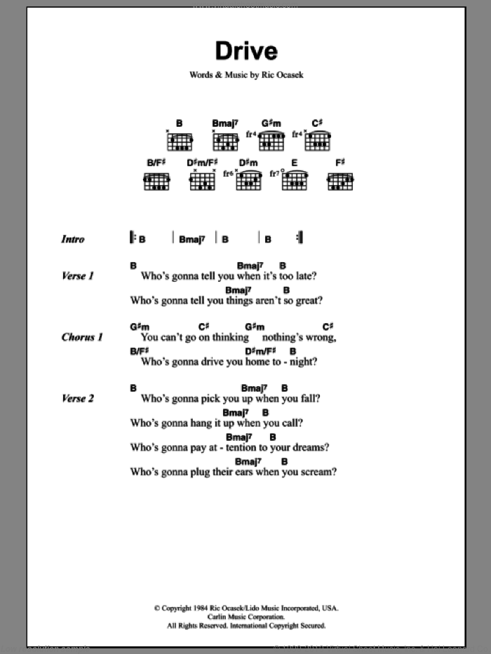 Drive sheet music for guitar (chords) by Ric Ocasek. Score Image Preview.